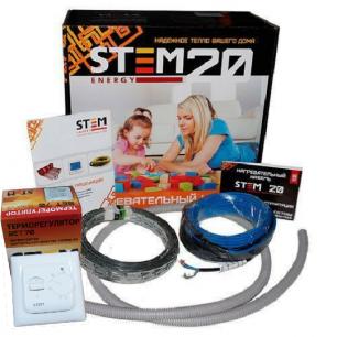 Комплект греющий кабель с терморегулятором  длина  10 м. 200/20